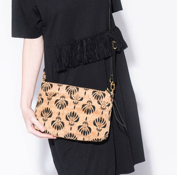 Crossbody Purse in Black Lotus Cork