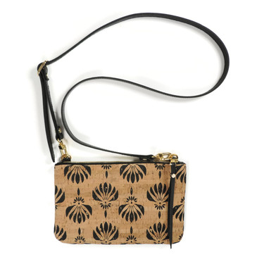 Cork & Leather Crossbody Purse in Black Lotus Cork