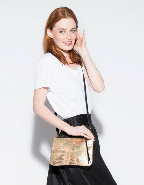 Cork & Leather Crossbody Purse in Brushed Gold Cork