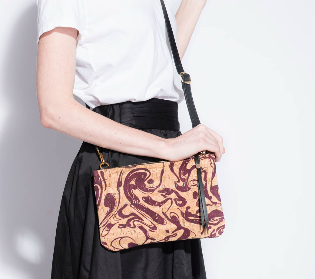 Cork & Leather Crossbody Purse in Maroon Ink Cork