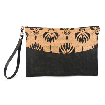 Smile Clutch in Black Lotus Cork