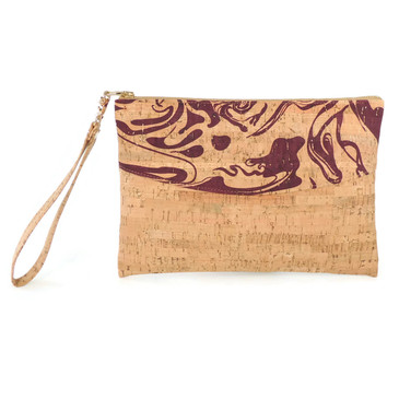 Smile Clutch in Maroon Ink Cork