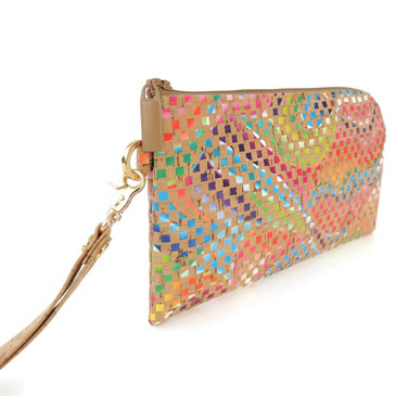 Phone Wristlet in Mosaic Cork