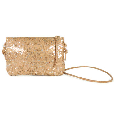 Cork Strap Crossbody Purse in Metallic Pebble Cork
