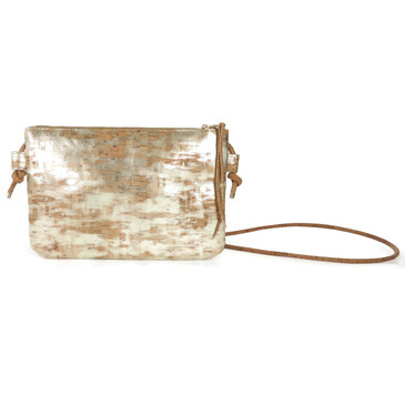 Cork Strap Crossbody Purse in Brushed Gold Cork
