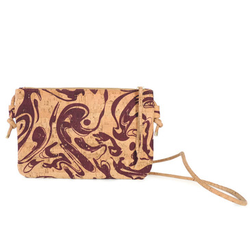 Cork Strap Crossbody Purse in Maroon Ink Cork
