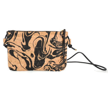 Cork Strap Crossbody Purse in Black Ink Cork