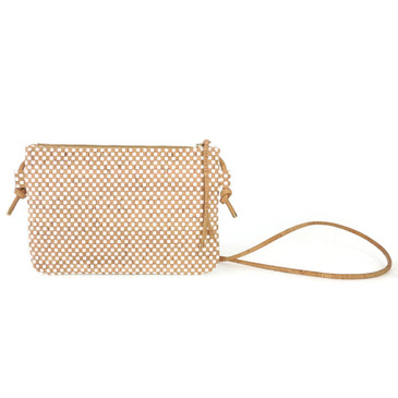 Cork Strap Crossbody Purse in White Check Cork
