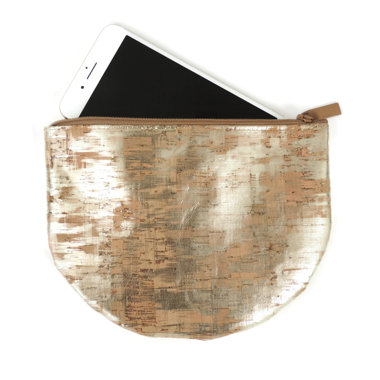 Half Moon Pouch in Brushed Gold Cork