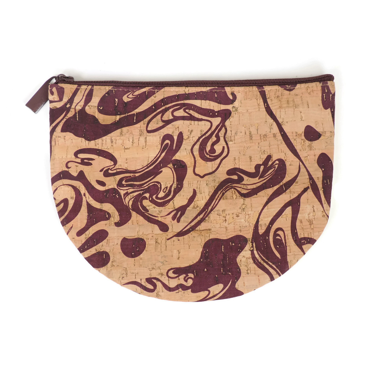 Half Moon Pouch in Maroon Ink Cork
