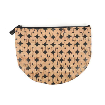 Half Moon Pouch in Black Cork Dots