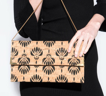 Folio Clutch in Black Lotus Cork