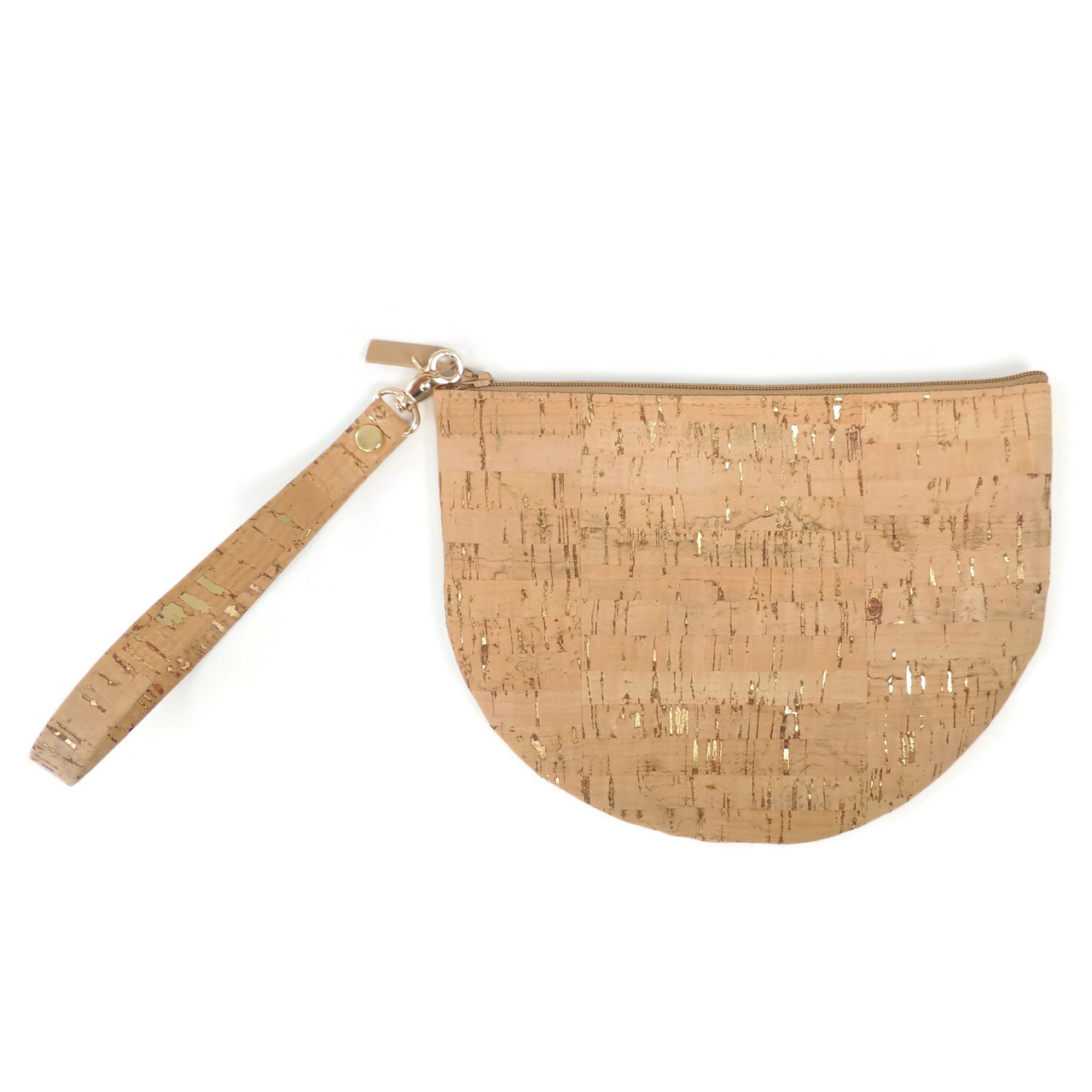 Half Moon Pouch in Cork Dash Gold