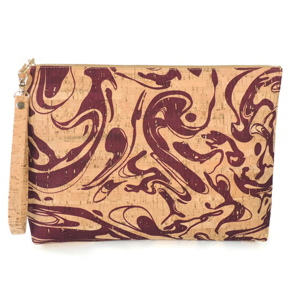 Carryall Clutch in Maroon Ink Cork