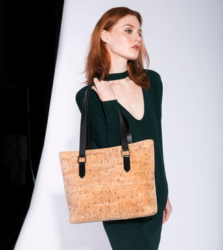 Satchel in Black Lotus Cork