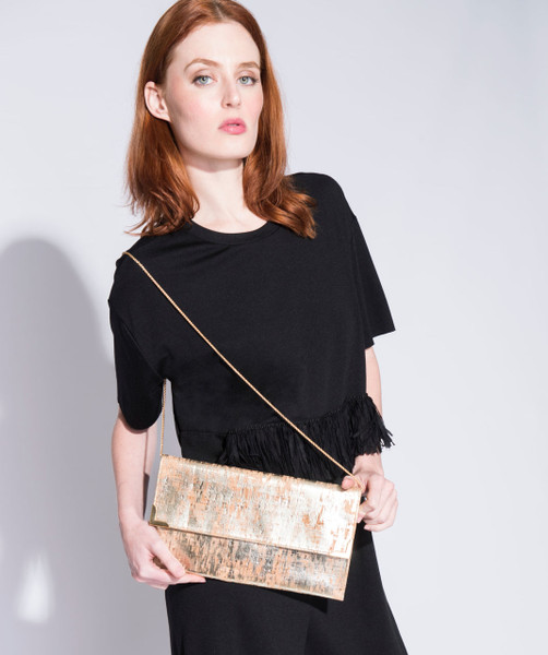 Folio Clutch in Brushed Gold Cork