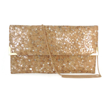 Folio Clutch in Metallic Pebble Cork