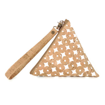 Triangle Pouch in Cork Dots
