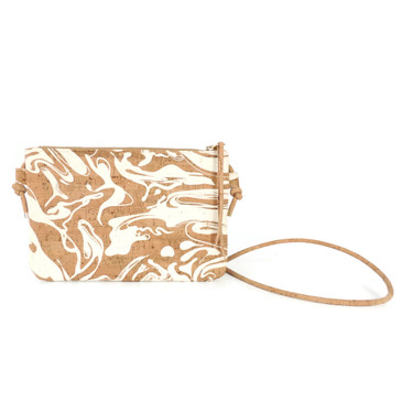 Cork Strap Crossbody Purse in White Ink Cork