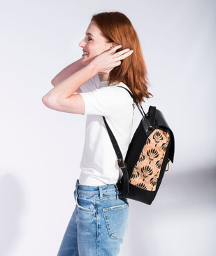 Cork & Leather Backpack in Black Lotus Cork