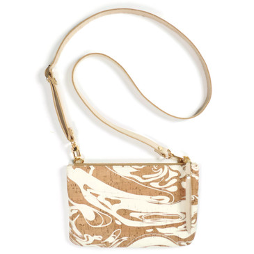 Cork & Leather Crossbody Purse in White Ink Cork