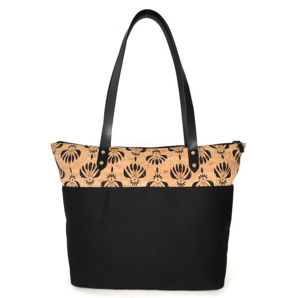 Travel Tote in Black Lotus Cork and Twill Canvas