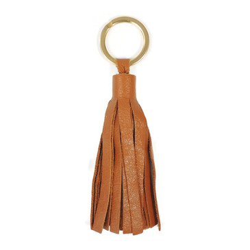 Tan Leather Tassel Key Ring