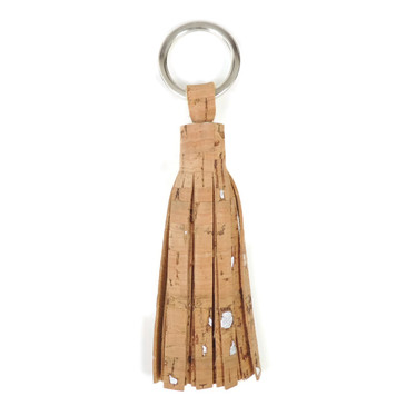Cork Dash Silver Leather Tassel Key Ring