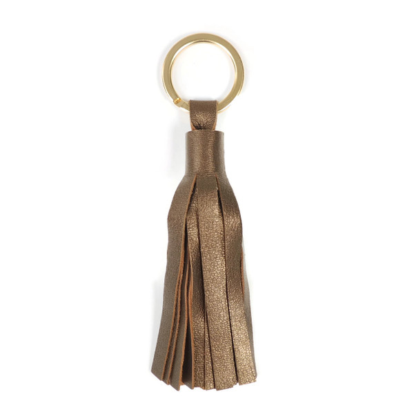 Bronze Leather Tassel Key Ring