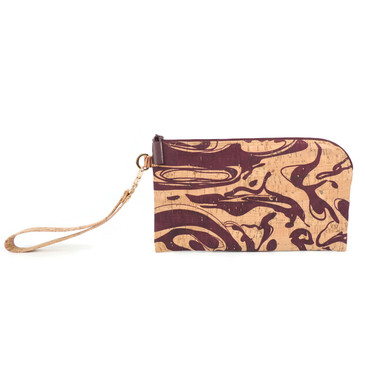 Phone Wristlet in Maroon Ink Cork