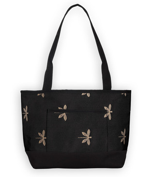 The Pocket Tote in Dragonfly Onyx.