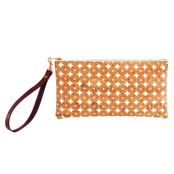 Clutch in Cork Dots with Wrist Strap