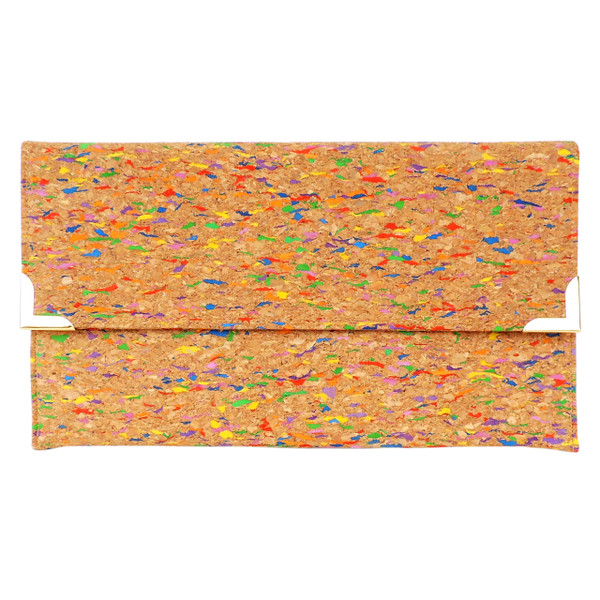 Folio Clutch in Multicolor Cork