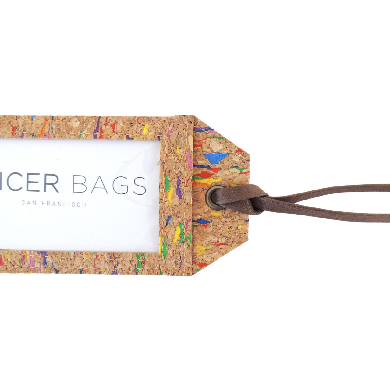 Cork Luggage Tag in Multicolor Cork