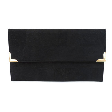 Folio Clutch in Black Cork