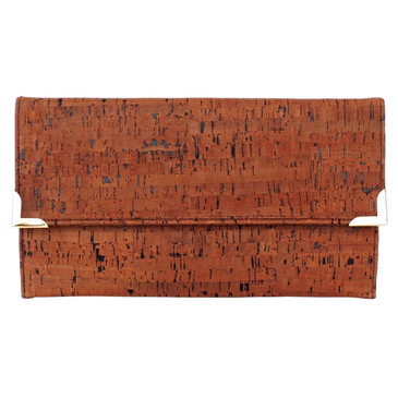 Folio Clutch in Cork Dash Brown