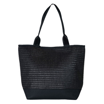 Signature Tote in Black Sand Raffia