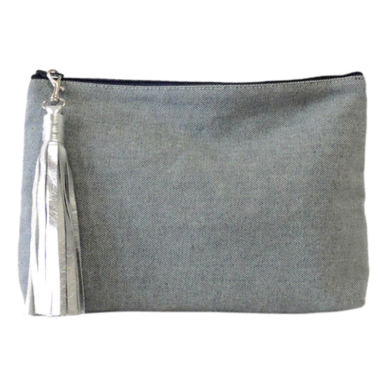 Carryall Clutch in Reverse Denim, with tassel - sold separetely