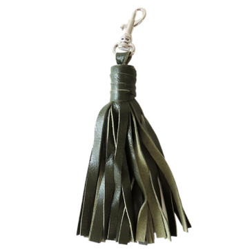 Small Green Leather Tassel