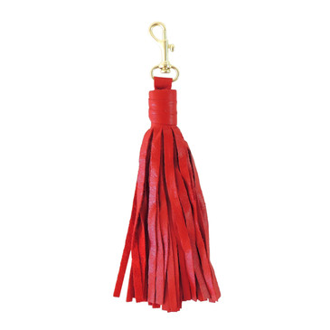 Large Red Leather Tassel with Clasp