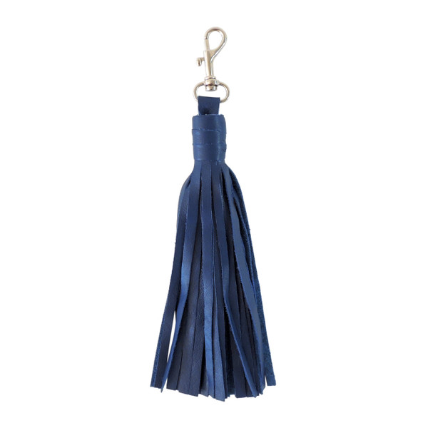 Large Cobalt Blue Leather Tassel with Clasp