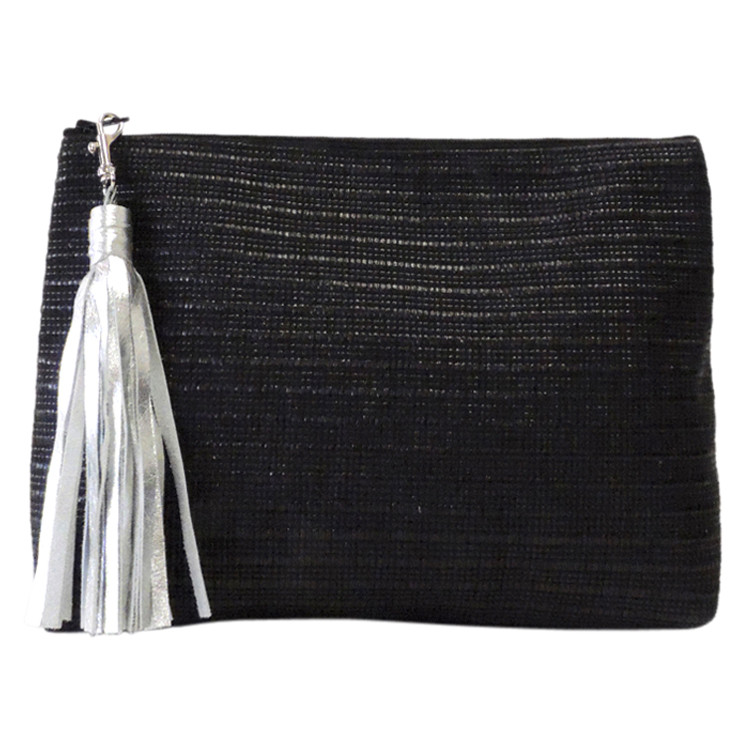 Large Silver Leather Tassel with Clas
