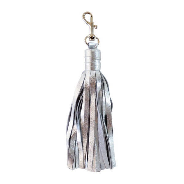Large Silver Leather Tassel with Clasp