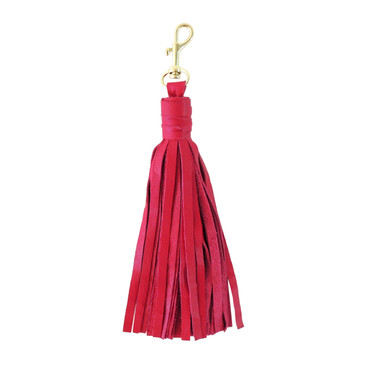 Large Pink Leather Tassel with Clasp