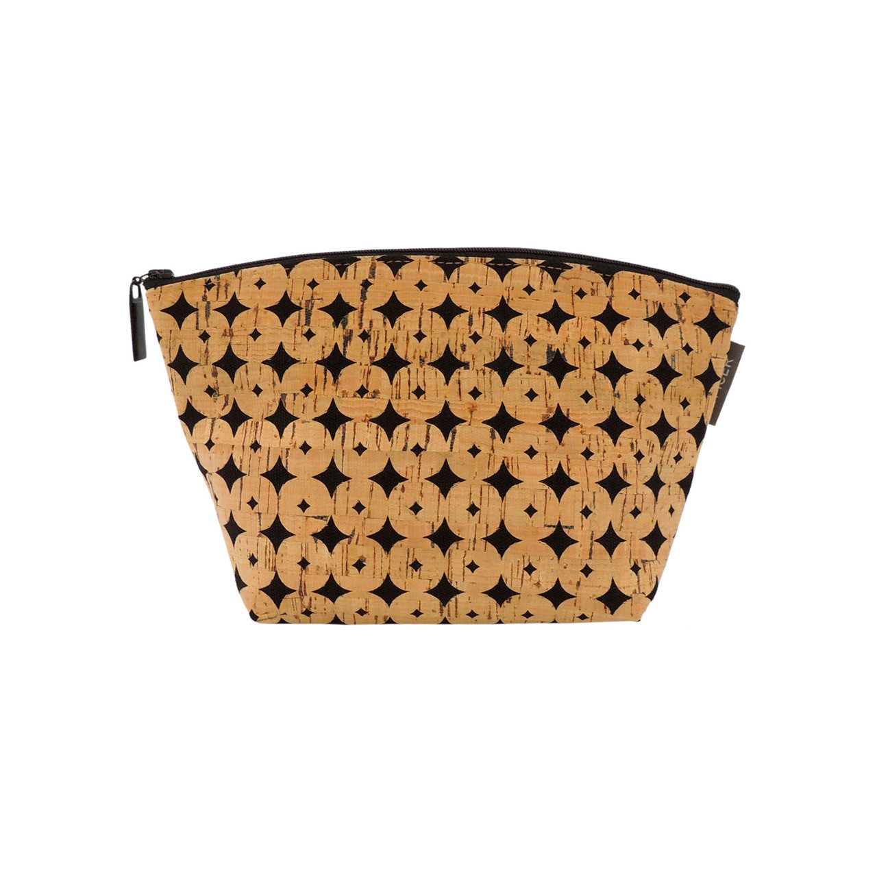 Large Standing Pouch in Black Cork Dots