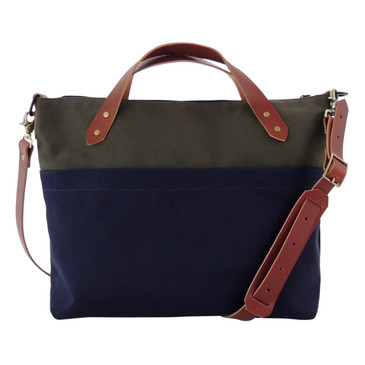 The Satchel in Olive and Navy