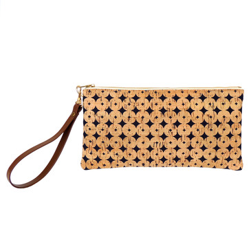 Cork Clutch in Navy Cork Dots with Strap