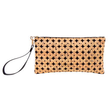 Cork Clutch in Black Cork Dots with Strap