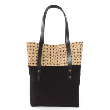 Big Boot Tote in Black Cork Dots
