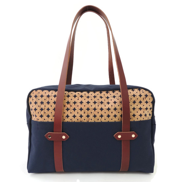 Overnight Bag in Navy Cork Dots